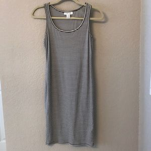 Gray and white striped bodycon maternity dress